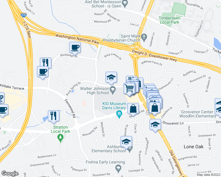 map of restaurants, bars, coffee shops, grocery stores, and more near 6401-6599 Rock Spring Dr in Bethesda