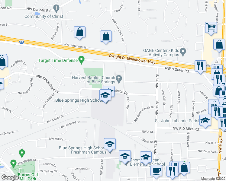 map of restaurants, bars, coffee shops, grocery stores, and more near 2299-2307 Northwest Ashton Drive in Blue Springs