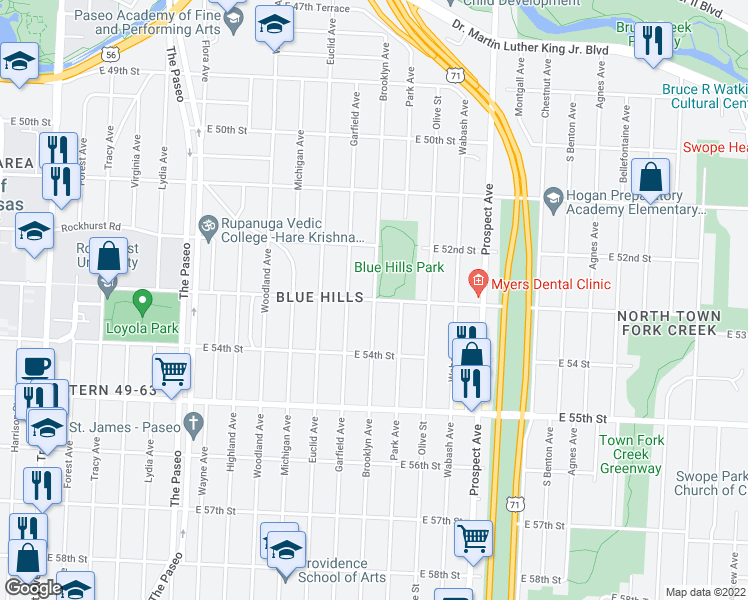 map of restaurants, bars, coffee shops, grocery stores, and more near Brooklyn Ave & E 53rd St in Kansas City