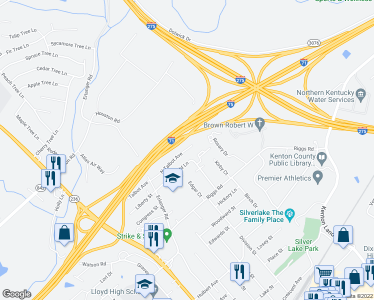map of restaurants, bars, coffee shops, grocery stores, and more near 3236 North Talbot Drive in Erlanger