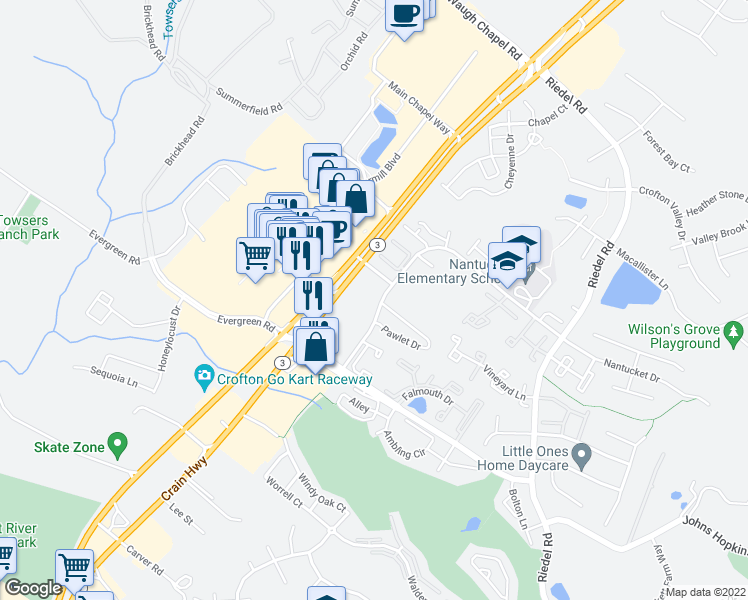map of restaurants, bars, coffee shops, grocery stores, and more near Nantucket Drive in Crofton