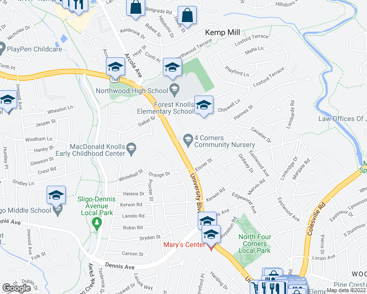 map of restaurants, bars, coffee shops, grocery stores, and more near 801 University Boulevard West in Silver Spring