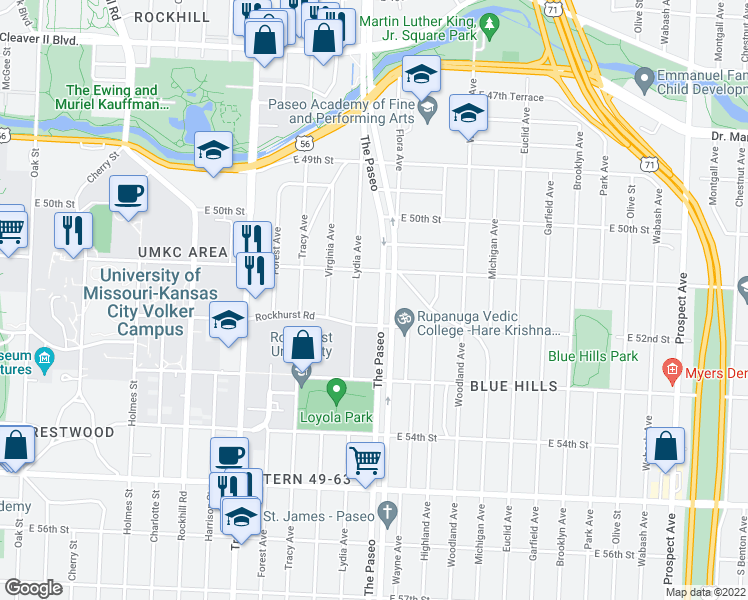 map of restaurants, bars, coffee shops, grocery stores, and more near 5124 Paseo Boulevard in Kansas City