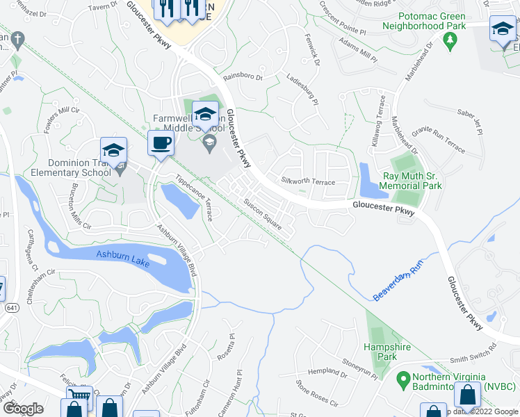 map of restaurants, bars, coffee shops, grocery stores, and more near 44200-44238 Cessna Lane in Ashburn