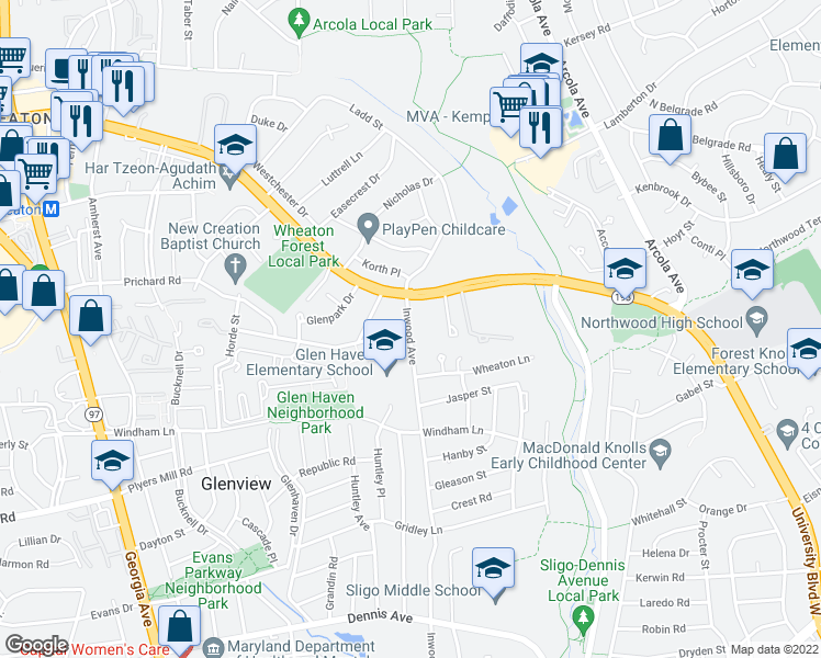 map of restaurants, bars, coffee shops, grocery stores, and more near 10904 Henlopen Ct in Silver Spring