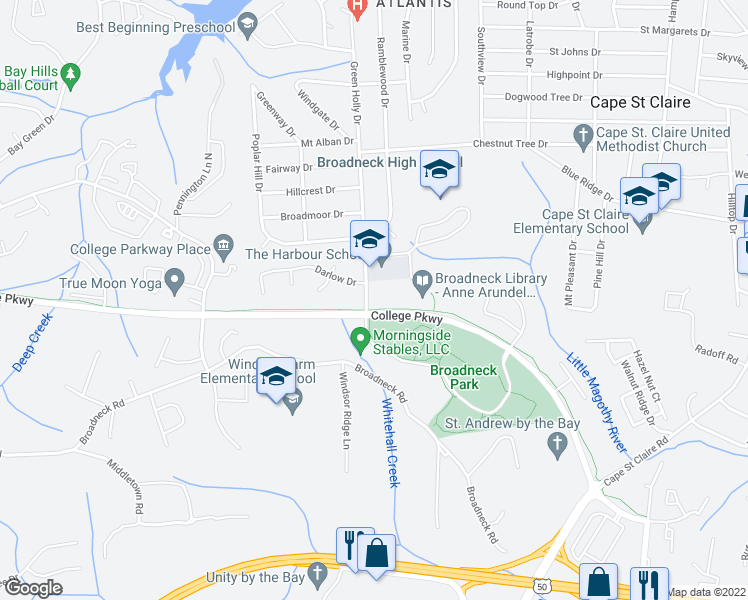 map of restaurants, bars, coffee shops, grocery stores, and more near 600-610 College Parkway in Annapolis