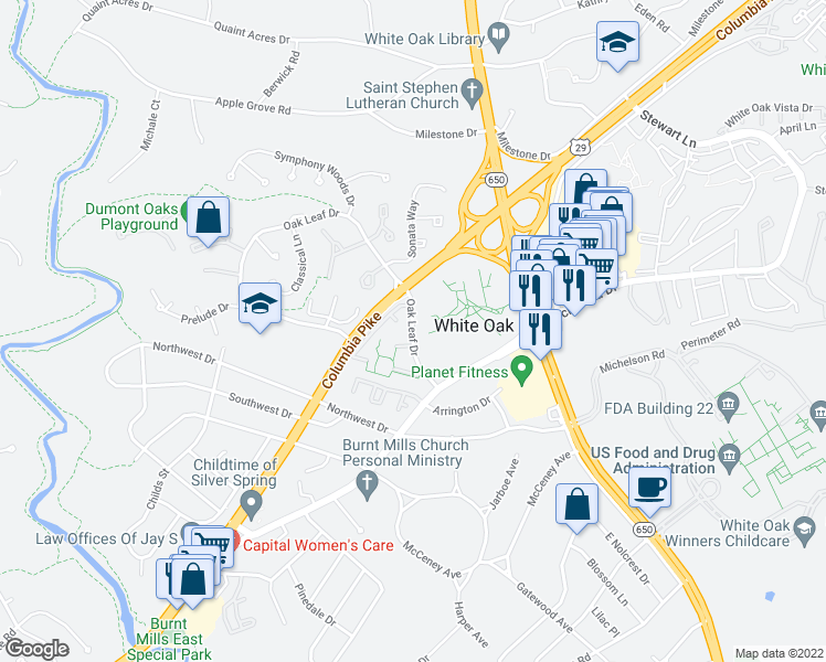 map of restaurants, bars, coffee shops, grocery stores, and more near 1121 Oak Leaf Drive in Silver Spring