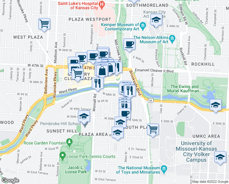 map of restaurants, bars, coffee shops, grocery stores, and more near 121 Ward Parkway in Kansas City