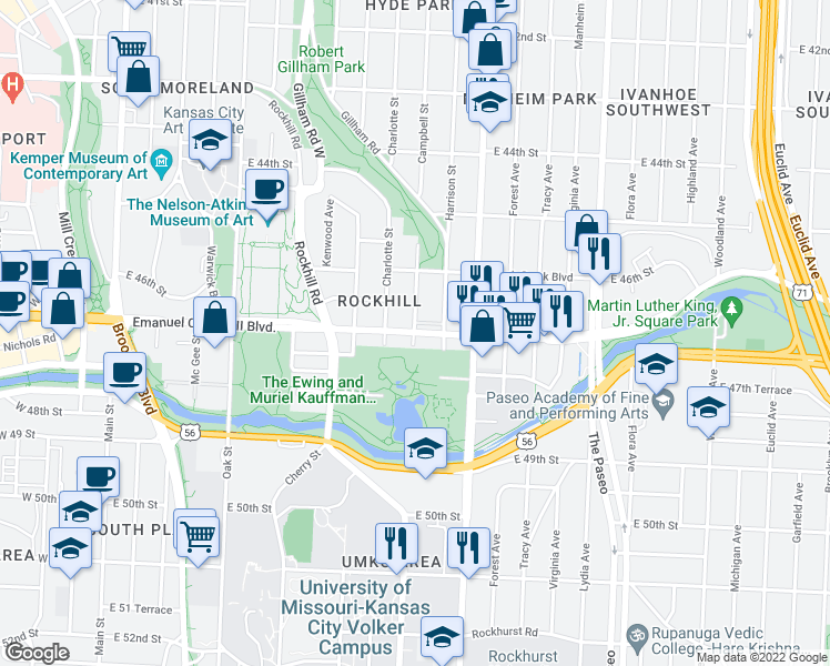 map of restaurants, bars, coffee shops, grocery stores, and more near Emanuel Cleaver II Blvd & Campbell St in Kansas City