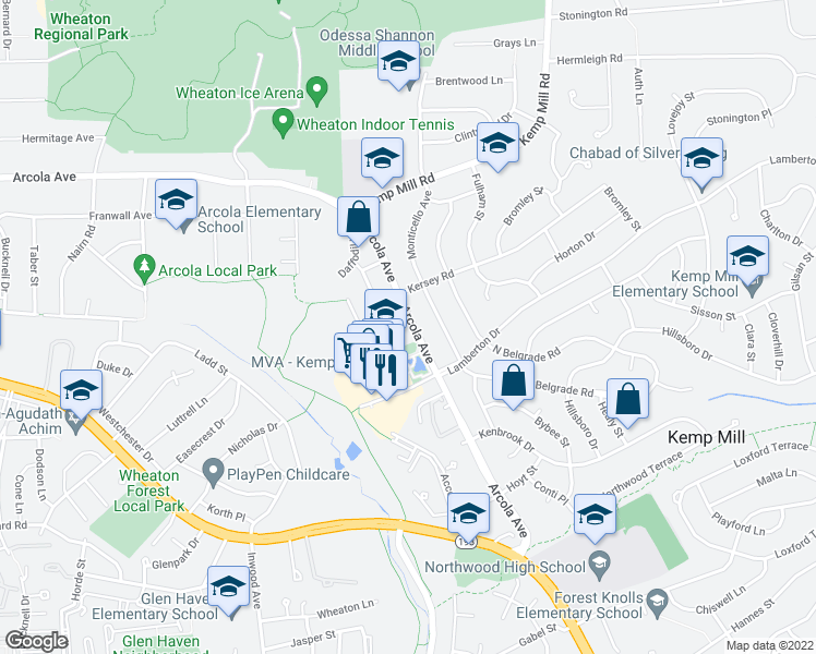 map of restaurants, bars, coffee shops, grocery stores, and more near 1209 Arcola Ave in Silver Spring