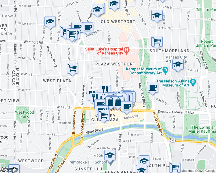 map of restaurants, bars, coffee shops, grocery stores, and more near 4526 Pennsylvania Avenue in Kansas City