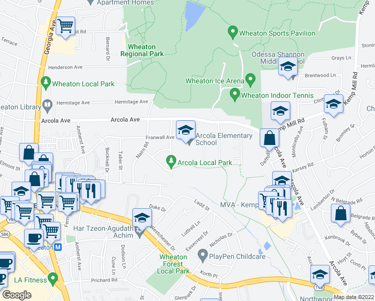 map of restaurants, bars, coffee shops, grocery stores, and more near 11508 Yates Street in Silver Spring