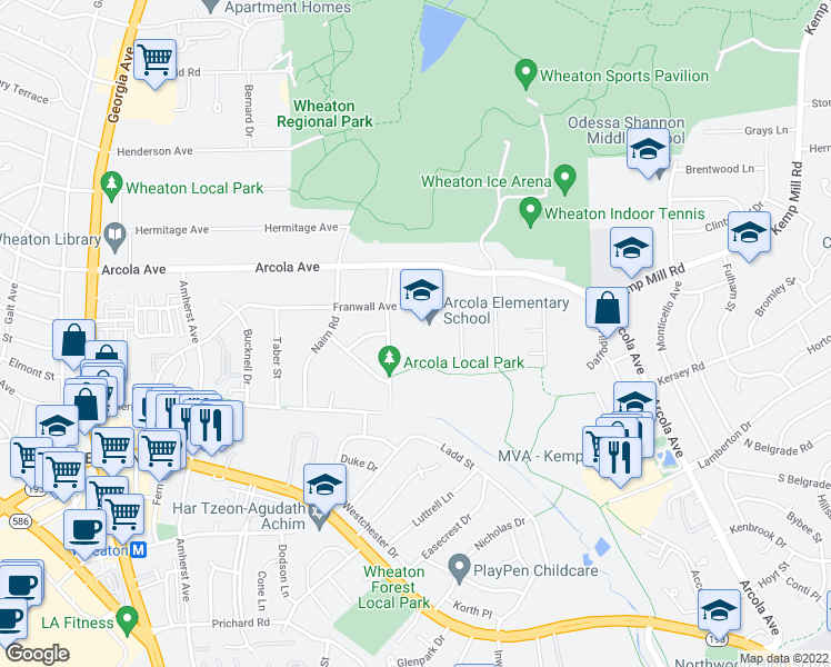 map of restaurants, bars, coffee shops, grocery stores, and more near 11501-11563 Channing Dr in Silver Spring
