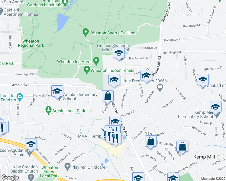 map of restaurants, bars, coffee shops, grocery stores, and more near 11609 Kemp Mill Rd in Silver Spring