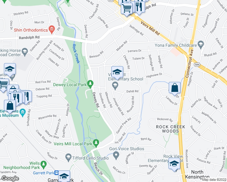map of restaurants, bars, coffee shops, grocery stores, and more near 4206 Dahill Rd in Silver Spring