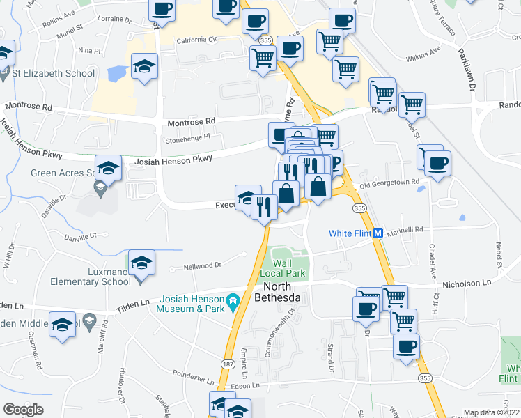 map of restaurants, bars, coffee shops, grocery stores, and more near 11592-11598 Old Georgetown Rd in North Bethesda