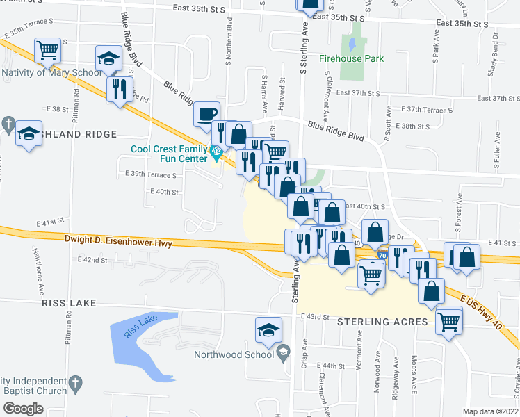 map of restaurants, bars, coffee shops, grocery stores, and more near 10811 U.S. 40 in Independence