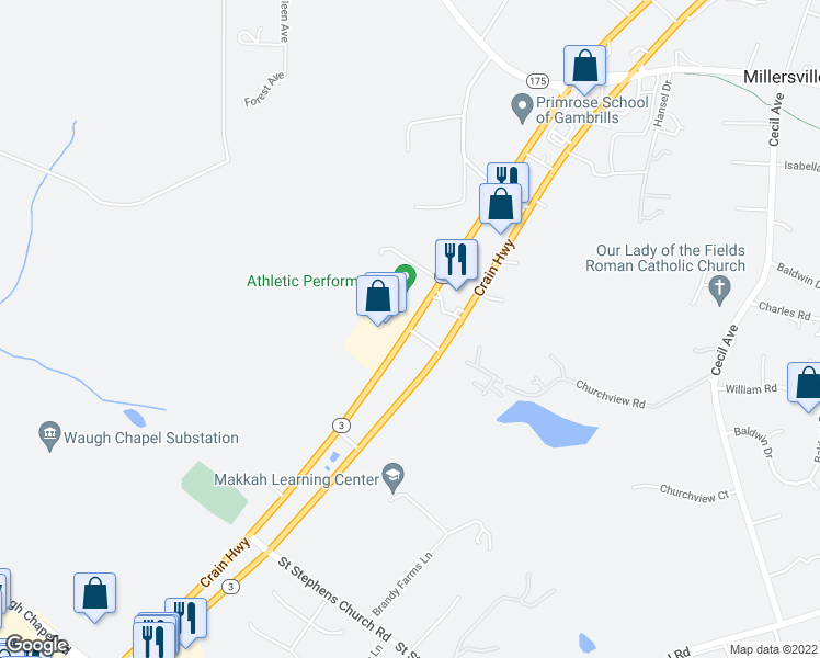 map of restaurants, bars, coffee shops, grocery stores, and more near 750 Crain Highway in Gambrills