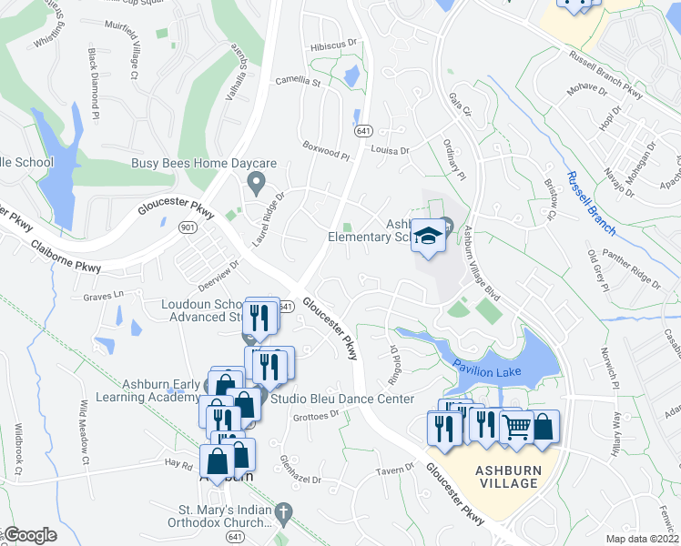 map of restaurants, bars, coffee shops, grocery stores, and more near 43881-43883 Chloe Terrace in Ashburn