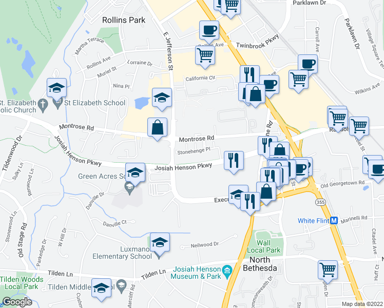 map of restaurants, bars, coffee shops, grocery stores, and more near Montrose Parkway in North Bethesda
