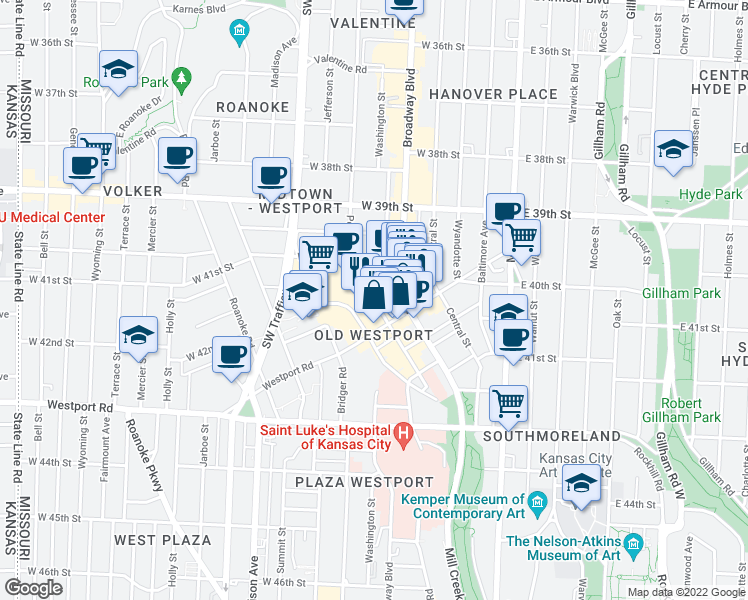 map of restaurants, bars, coffee shops, grocery stores, and more near W 40th Terrace in Kansas City