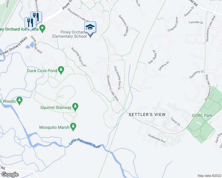 map of restaurants, bars, coffee shops, grocery stores, and more near 830 Patuxent Run Cir in Odenton