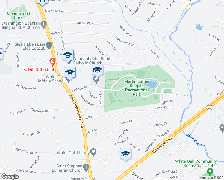 map of restaurants, bars, coffee shops, grocery stores, and more near 1100-1140 Jackson Road in Silver Spring