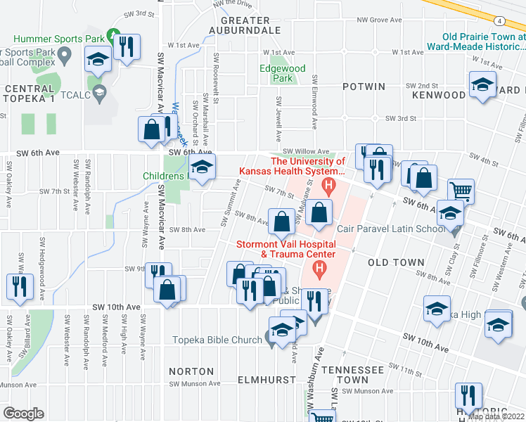 map of restaurants, bars, coffee shops, grocery stores, and more near 730 Southwest Jewell Avenue