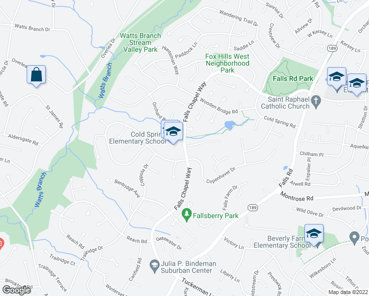 map of restaurants, bars, coffee shops, grocery stores, and more near 9129 Copenhaver Drive in Rockville