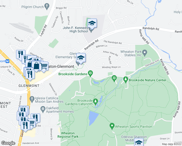 map of restaurants, bars, coffee shops, grocery stores, and more near 1789 Glenallan Avenue in Silver Spring