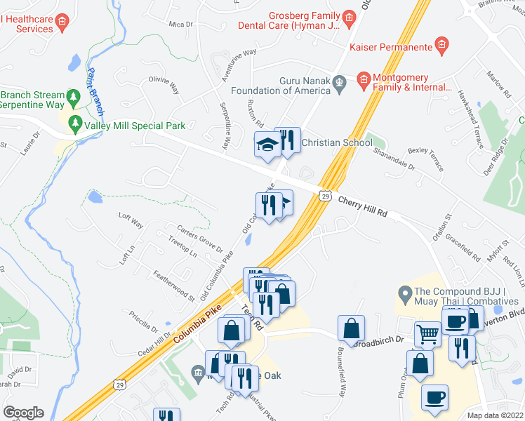 map of restaurants, bars, coffee shops, grocery stores, and more near 12501 Old Columbia Pike in Silver Spring