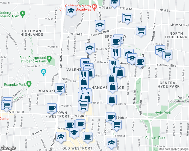 map of restaurants, bars, coffee shops, grocery stores, and more near Central St & W 36
