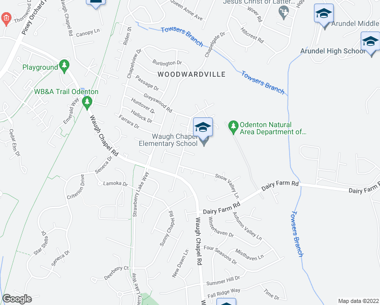 map of restaurants, bars, coffee shops, grocery stores, and more near 801-899 Sunflower Drive in Odenton