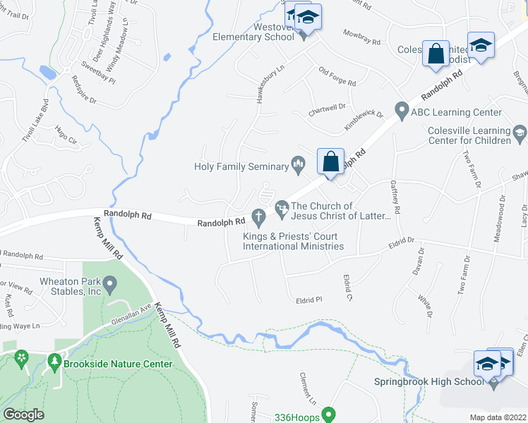 map of restaurants, bars, coffee shops, grocery stores, and more near 560-600 Randolph Rd in Colesville