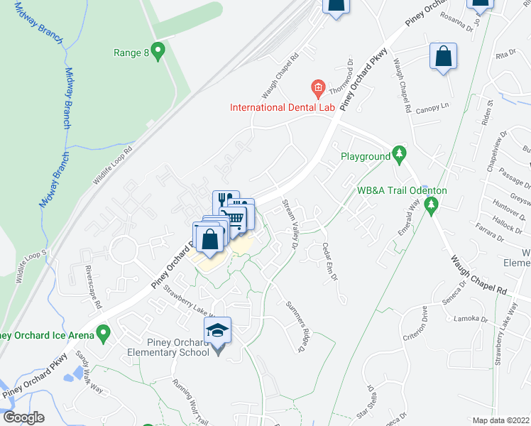 map of restaurants, bars, coffee shops, grocery stores, and more near 702 Linden Grove Pl in Odenton