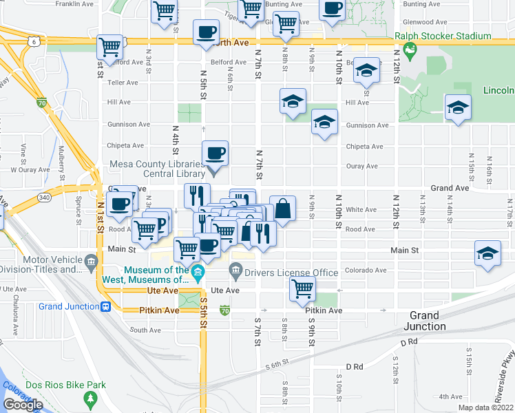 map of restaurants, bars, coffee shops, grocery stores, and more near 200-298 North 7th Street in Grand Junction