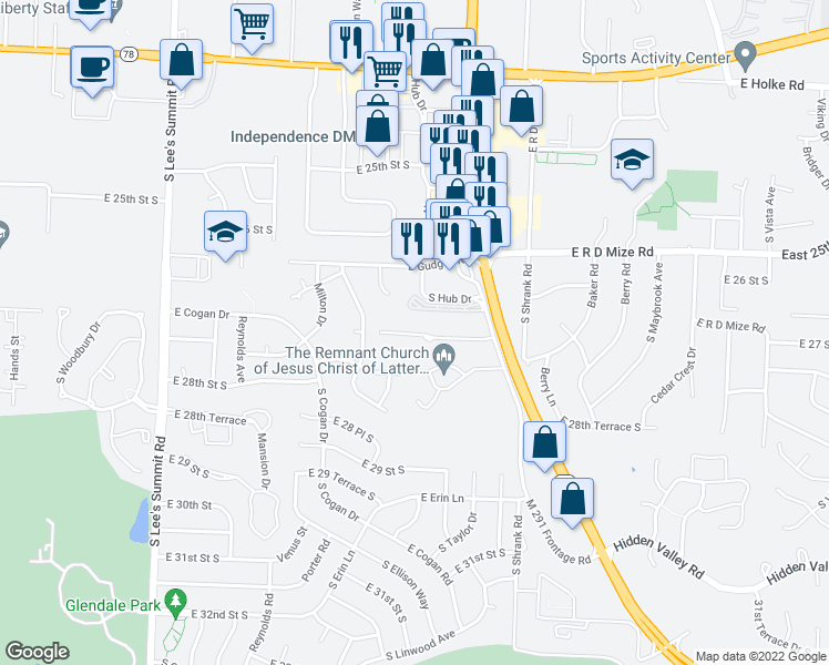 map of restaurants, bars, coffee shops, grocery stores, and more near 16600-17098 East Larkspur Lane in Independence