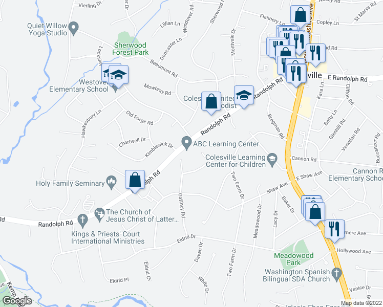 map of restaurants, bars, coffee shops, grocery stores, and more near 170 Randolph Rd in Silver Spring