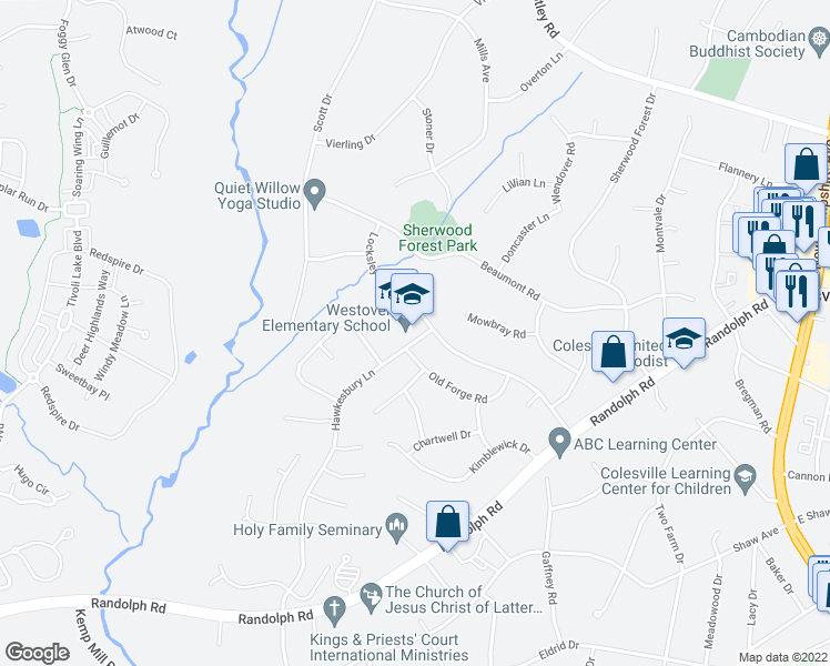 map of restaurants, bars, coffee shops, grocery stores, and more near 13409 Locksley Ln in Silver Spring
