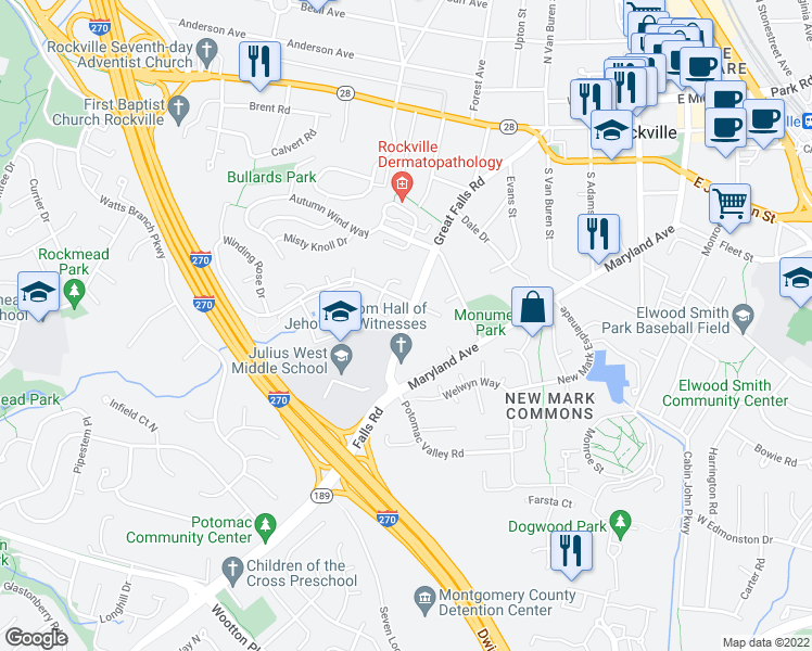 map of restaurants, bars, coffee shops, grocery stores, and more near 608 Great Falls Road in Rockville