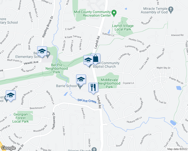 map of restaurants, bars, coffee shops, grocery stores, and more near 2350 Deckman Lane in Silver Spring
