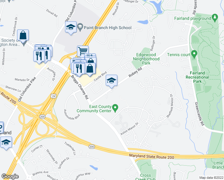 map of restaurants, bars, coffee shops, grocery stores, and more near 13600-13798 Robey Rd in Silver Spring
