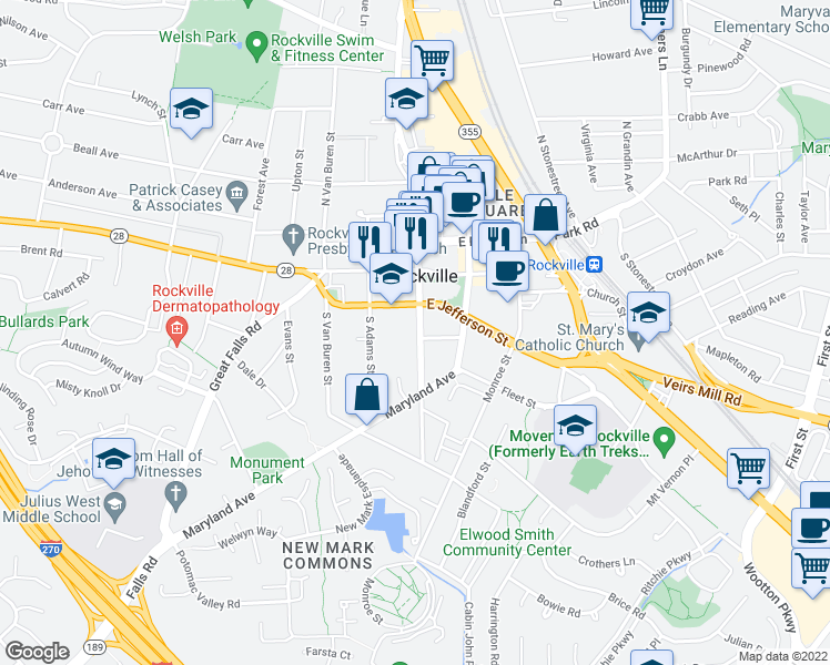 map of restaurants, bars, coffee shops, grocery stores, and more near 108 South Washington Street in Rockville