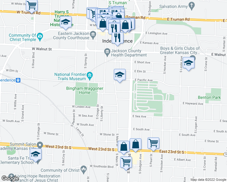 map of restaurants, bars, coffee shops, grocery stores, and more near 626 S Main St in Independence