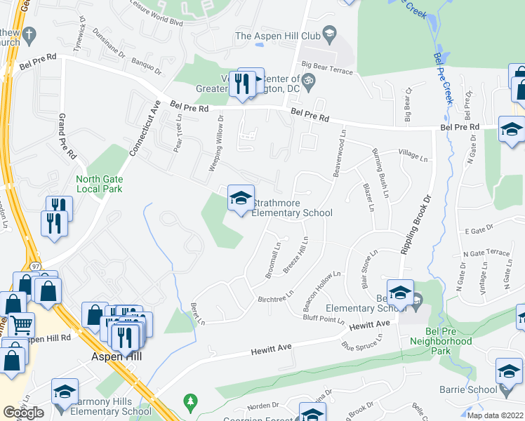 map of restaurants, bars, coffee shops, grocery stores, and more near 3141 Beaverwood Lane in Silver Spring