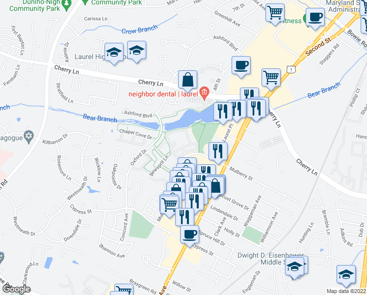 map of restaurants, bars, coffee shops, grocery stores, and more near Harvest Bend Ct in Laurel