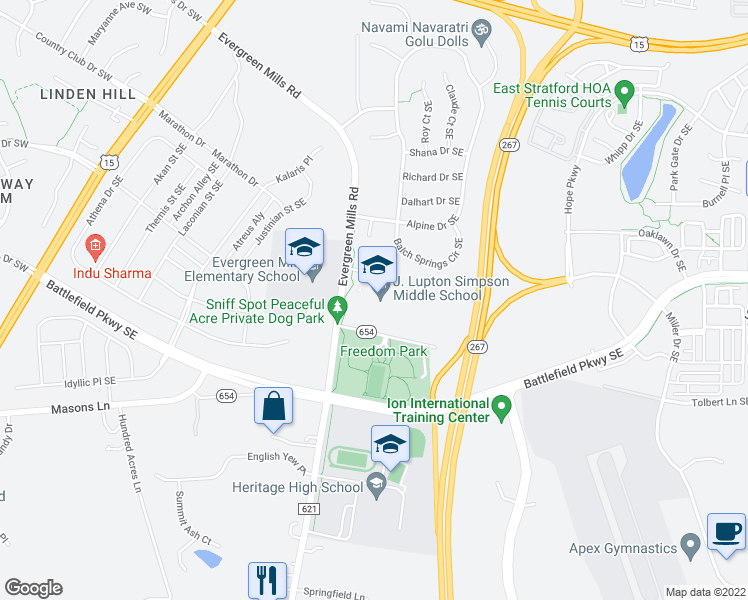 map of restaurants, bars, coffee shops, grocery stores, and more near 490 Tolbert Lane Southeast in Leesburg