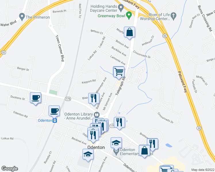 map of restaurants, bars, coffee shops, grocery stores, and more near 351 Baltimore Avenue in Odenton