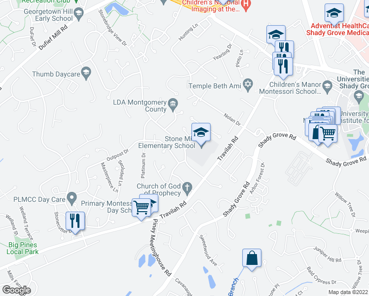 map of restaurants, bars, coffee shops, grocery stores, and more near 10413 Quietwood Dr in North Potomac