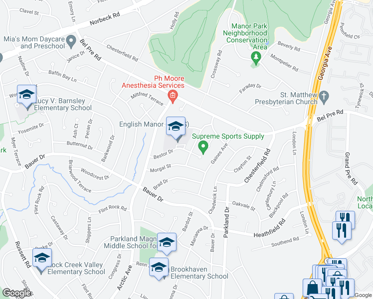 map of restaurants, bars, coffee shops, grocery stores, and more near 14311 Blackmon Drive in Rockville